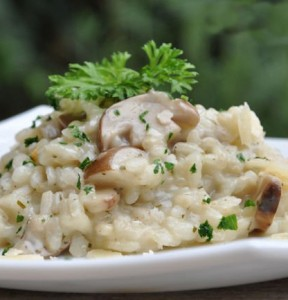 piatto di risotto ai porcini