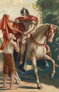 San Martino dona metà del suo mantello al mendicante