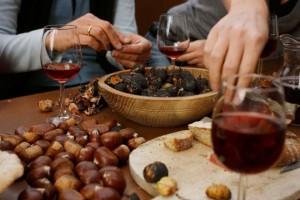 castagne e vino novello in compagnia